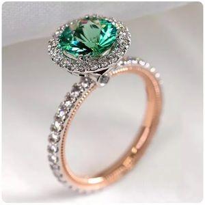 Gorgeous Two Tone 925 Silver Ringfor Women Emerald